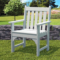 POLYWOOD - POLYWOOD Recycled Plastic Vineyard Garden Arm Chair - GNB24BL - Shop for Chairs and Sofas from Hayneedle.com! We know a good thing when we see it and we know you do too. That's why we're so excited to offer you the PolyWood Garden Arm Chair. With excellent proportions and unbelievably resilient materials this arm chair offers comfort and quality that lasts. This is top-of-the-line recycled plastic with a real wood look. Not that plastic-looking stuff you get at the grocery store. It's dense thick and will last a lifetime. Choose from several colors to find the one that best complements your patio. About Poly-WoodThe advantages of Poly-Wood Recycled Plastic are hard to ignore. Poly-Wood absorbs no moisture and will NOT rot warp crack splinter or support bacterial growth. Poly-Wood is also compounded with permanent UV-stabilized colors which eliminates the need for painting staining waterproofing stripping and resurfacing. This material is impervious to many substances including salt water gasoline paint stains and mineral spirits. In addition every Poly-Wood product comes with stainless steel hardware. Poly-Wood is extremely easy to clean and maintain. Simple soap and water is all you need to get rid of dirt and make your furniture look new again. For extreme cleaning needs you can use a 1/3 bleach and water solution. Most Poly-Wood furnishings are available in a variety of classic colors which allow you to choose your favorite or coordinate with the furniture you already have. This is sure to be a piece that you will be proud to own for a lifetime.