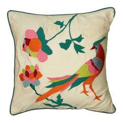 Rizzy Home - Rizzy Home Hand Bird Embroidery Details Decorative Throw Pillow Multicolor - PIL - Shop for Pillows from Hayneedle.com! The Rizzy Home Hand Bird Embroidery Details Decorative Throw Pillow brings colorful touch to your sofa with its multi-colored bird and floral design. The removable cover features a plush polyester insert hidden zipper and is made of 100% cotton satin.About Rizzy HomeRizwan Ansari and his brother Shamsu come from a family of rug artisans in India. Their design color and production skills have been passed from generation to generation. Known for meticulously crafted handmade wool rugs and quality textiles the Ansari family has built a flourishing home-fashion business from state-of-the-art facilities in India. In 2007 they established a rug-and-textiles distribution center in Calhoun Georgia. With more than 100 000 square feet of warehouse space the U.S. facility allows the company to further build on its reputation for excellence artistry and innovation. Their products include a wide selection of handmade and machine-made rugs as well as designer bed linens duvet sets quilts decorative pillows table linens and more. The family business prides itself on outstanding customer service a variety of price points and an array of designs and weaving techniques.
