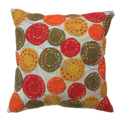 Barn & Willow - Fall Colors Patch Pillow Cover - Our Fall colors pillow cover with wool Applique and Kantha stitch brings warmth and an instant splash of color into the room.