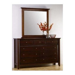 Modus - City II 9 Drawer Dresser & Vertical Mirror Se - * Set includes 9 drawer dresser & mirror. Solid wood frame. Beveled glass. Dual function wall or dresser mount mirror. Reverse beveled floating top subtly carries dresser design. Full extension ball bearing drawer glides. Sanded & stained solid wood drawer boxes with English dovetail joinery. Thick solid wood posts & solid wood drawer fronts lend a heavy, substantial feel to the piece. Satin Nickel drawer pulls add a contemporary touch. Drawer boxes and wood frames are corner blocked to ensure rigidity & lasting quality. Sophisticated transitional design. Constructed from Tropical Mahogany solid wood & Tropical Mahogany wood veneer. No assembly required. Dresser: 64 in. W x 18 in. D x 41 in. H (175 lbs.). Mirror:43 in. L x 2 in. W x 43 in. H (47 lbs.)The case goods offered in the City Collection provide any home with modern chic. Crafted from Tropical Mahogany solid wood and veneer, the City case goods are corner blocked to ensure rigidity and feature full extension ball bearing drawer glides for ease of use. The solid wood drawer boxes feature English dovetail joints in both front and back for sturdiness and reliability. Finally, an intricate American finish in a deep Russet color adds to the magnificent beauty of the collection's case goods. Together with its handsome modern sleigh beds featuring genuine leather headboard panels, the City Collection offers sleek reliability and practical beauty.