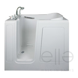 """Ella Gel Coat 28″ x 48″ Short Dual Massage Walk In Bathtub 284804 - The Ella Short 28'' x 48'' Walk In Bathtub is designed for people who are short on the amount of space they have to work with in their bathroom. Even though this walk in bathtub fits in smallest of spaces, it still offers ample legroom for a relaxing bath. This walk in bathtub is constructed of the highest grade fiberglass composite with a gel coat high gloss finish for beauty and durability. It is supported with a durable stainless steel frame. As with all of Ella Walk In Baths durable high gloss finish gel coat walk in tubs, this walk in bathtub includes an anti-slip floor, low step for easy entrance, an extension panel to fit up to a 60"""" opening, a hand shower with pull out hose and a high quality Huntington Brass Roman Faucet set. You can chose from left or right hand side door and drain, the soaking model or the massage model which is equipped with air, hydro or dual therapy massage options."""