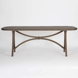 Oliver Dining Table - We created a uniquely shaped tabletop to add a vintage modern feel. The oak top has a metal inlay circling the edge for additional detail. Beautifully curved finishes on the base add to the timeless of the piece. Table measures 86.5 inches in length and 39.5 inches in width.