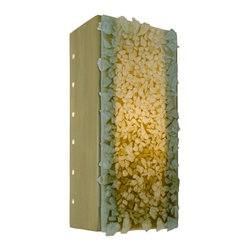 A19 - Rocky Wall Sconce Sagebrush and Multi Moss - This rectangular sconce features a rocky and textured surface created by the fusing of hundreds of colored glass bits to a larger pane of glass. Light shines through openings at the top, the bottom, the circular perforations along the back edge of both sides of the fixture and organically illuminates the glassy collage of colors. Handmade to A19's exacting standards, using a kiln-fired ceramic base and recycled window glass from local sources.