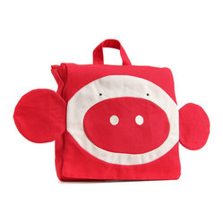 OOTS! - Pieke Red Backpack - This modern monkey will have your toddler feeling prepped and ready for that first day of play school. Your little one will love packing up his or her own lunchbox and lovey, while giggling at the monkey's silly face. It's the perfect addition to your little's school wardrobe.