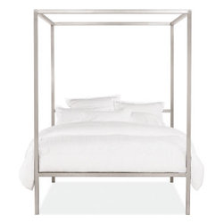 Portica Canopy Bed - Who says stainless steel is just meant for slick kitchen appliances? This sleek canopy bed will add some shine to your boudoir.