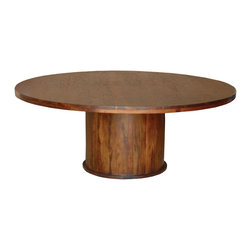 "Four Hands - Provence Round Dining Table, 58"" - Nothing encourages dinnertime conversation like a round table. You'll enjoy how this impressive piece, crafted of sheesham wood, features a heavy plank top distressed to suggest relaxed, everyday use."