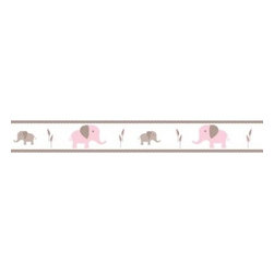 Sweet Jojo Designs - Sweet Jojo Designs Mod Elephant Wallpaper Border in Pink/Taupe - The Pink and Taupe Mod Elephant Collection of bedding and accessories from Sweet Jojo Designs will help you design an incredible room for your child. This adorable set features a fun elephant print and pink, taupe and white colors.