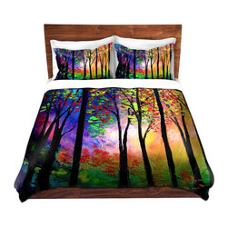 DiaNoche Designs - Duvet Cover Microfiber - Autumn Eve II - DiaNoche Designs works with artists from around the world to bring unique, artistic products to decorate all aspects of your home.  Super lightweight and extremely soft Premium Microfiber Duvet Cover (only) in sizes Twin, Queen, King.  Shams NOT included.  This duvet is designed to wash upon arrival for maximum softness.   Each duvet starts by looming the fabric and cutting to the size ordered.  The Image is printed and your Duvet Cover is meticulously sewn together with ties in each corner and a hidden zip closure.  All in the USA!!  Poly microfiber top and underside.  Dye Sublimation printing permanently adheres the ink to the material for long life and durability.  Machine Washable cold with light detergent and dry on low.  Product may vary slightly from image.  Shams not included.