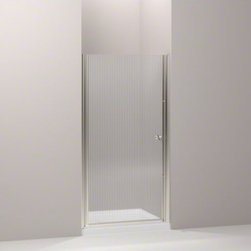 """KOHLER - KOHLER Fluence(R) pivot shower door, 65-1/2"""" H x 31-1/4 - 32-3/4"""" W, with 1/4"""" t - With a frameless, versatile design and a Falling Lines glass pattern, the Fluence pivot shower door adds contemporary style to your shower. The door allows 1-1/2-inch adjustability for out-of-plumb installations and can be installed to open to the left or right, depending on your preference."""