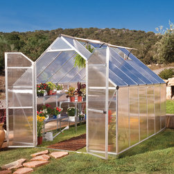 None - Palram Essence Silver Greenhouse - Aside from 96 square feet of growing space, this structure boasts two vent windows for improved ventilation and a ramp style threshold to accommodate wheelbarrows or wheelchairs. Galvanized steel base for attaching to level surface.