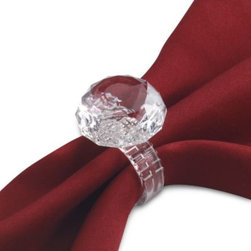 Prodyne - Prodyne Faux Diamond Ring Napkin Ring (Set of 4) - Add a little sparkle to your guests' napkins with these little gems. Designed to look like the engagement ring of all times, these clear acrylic rings are the ideal napkin rings for use at a bridal shower, engagement party or wedding reception.