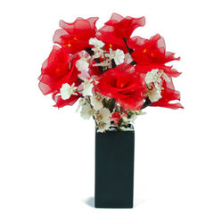 The Firefly Garden - Red Roses - Red Roses blends the subtle beauty of illuminated roses with small white orchids. Featured in a chic black vase, this is a perfect accent piece for a side table or a small niche. Share your love on Valentine's Day, Mother's Day, or on an anniversary with this delicate illumination.