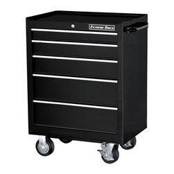 Extreme Tools - 5-Drawer Steel Tool Cabinet on Locking Swivel Caters - Made of Steel. 5 drawer Roller Tool Cabinet. Four 5 in. casters (two locking, two swivel). High gloss powder coat finish. Theft proof lock system. Ball bearing glides. 50 lbs. rating per drawer. Black finish. Some assembly required. 26 in. W x 20 in. L x 36 in. H (115 lbs.)