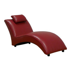 Chelsea Home - Chaise Lounge in San-Marin Red - Seating comfort: Medium. Seat cushion attached. Seat back cushion attached. Seat cushion is not reversible. No sag sinuous spring system used. Dacron wrapped 1.5 density foam cushions. Made from PVC and hardwood. Made in USA. No assembly required. 64 in. L x 29 in. W x 30 in. H (75 lbs.)
