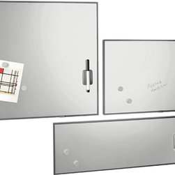 Stainless Steel Magnetic Dry Erase Boards - Slick, stainless steel, magnetic dry-erase boards are awfully useful on the office wall to write down notes or messages. They can also work as idea or dream boards.