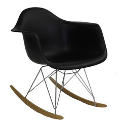 Eames Style RAR Rocking Chair in Black - The Iconic Charles E. RAR Rocking Chair has a timeless appeal with the simplicity and functionality of its design structure. Initially created for the 'Low Cost Furniture Design' organised by the New York Museum of Modern Art, the impressive chair comprises a smooth one-piece seating shell and a contrasting base of the designer's emblematic entwined wire rods design. The chair complies with all essentials for comfort, providing a relaxing rocking experience.