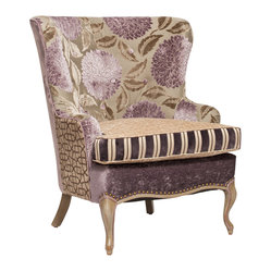 Salmagundi - Lilac and Taupe French Chair - Bring luscious comfort to your decor with this one-of-a-kind armchair. Crafted from the softest velvet and chenille, it features a rich hand-rubbed finish and pewter nailhead trim — a fantasy come true for your favorite setting.