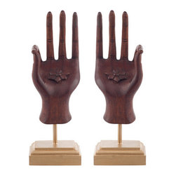 Brilliant Imports - Pair of Hands on Stands - Use our Brilliant Imports hands simply to ornament an area or put them to use holding bracelets, rings, etc. In Hindu tradition, this finger position, with forefinger and thumb touching, brings knowledge and clarity. They hold a lotus flower in their palms.