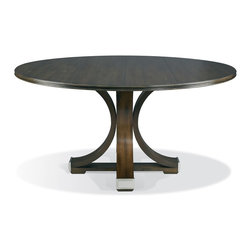 """Hickory White - Hickory White Celia Pedestal Base and 60""""Dia Grooved Top Dining Table 550-03_552 - Nickel hardware standard optional antique brass hardware."""