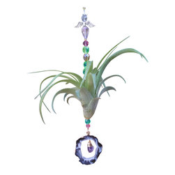 Spirit Pieces - Tillandsia with Agate and Amethyst Healing Crystal Dongle - Great Gift - Amaze with this wonderful home decor accent comprised of a Gold-plated agate slab with an Amethyst dongle and a living Tillandsia Air Plant.  Hang off of a window latch, curtain rod, mantle or door threshold.
