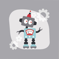 Homeworks Etc - Homeworks Etc Gray Robot Canvas Wall Art, blue - Fun Robot Kids Room decor for boys.  Great for a baby shower or birthday gift.  It's light weight design is easy to hang.  Measures 10 x 10 x 1.5 inches.  Perfect for use in  a children's bedroom.