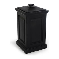 Mayne Inc. - Berkshire Storage Bin Black - Our multi-purpose storage bin offers a perfect blend of style and function. The Berkshire is ideal for a backyard waste bin and includes a set of hooks to hang your waste bag. This storage bin is a great way to hide children's toys, gardening tools, bird seed, or bags of salt for the winter months. Multi-purpose storage bin.  Molded from high-grade polyethylene. Removable lid with snap fit design. Includes 2 waste bag hooks.  Storage capacity is approximately 45 gallons (170 Liters).  15 year warranty on the bin, 1 year limited warranty on the waste bag hooks.