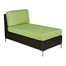 PORTFOLIO - Portfolio Dorchester Green Indoor/Outdoor Resin Wicker Armless Chaise - The Dorchester armless chaise is part of the Portfolio Collection. The Dorchester chaise has a dark brown resin wicker base topped with a comfortable padded green cushion and can be used both indoors and outdoors.