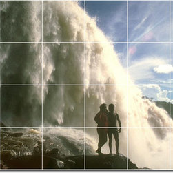 Picture-Tiles, LLC - Waterfalls Photo Backsplash Tile Mural 20 - * MURAL SIZE: 32x48 inch tile mural using (24) 8x8 ceramic tiles-satin finish.