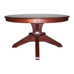 """Serenity Table - 54"""" round Serenity Table features a solid steam bent skirt. Strong, heavy base with interlocking legs can support large tops, shown in Mahogany or Quarter sawn Oak. This table looks great with either  Contemporary or Mission chairs. Available as a 48"""", 54""""or 60"""" round top and can expand with either two 15""""  or 18"""" inch leaves. Also available as a double pedestal."""