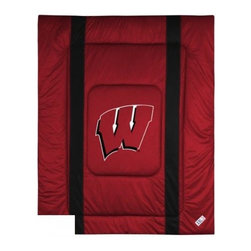 Sports Coverage - Wisconsin Bedding - NCAA Sidelines Comforter - Full - Show your team spirit with this great looking officially licensed Wisconsin comforter which comes in new design with sidelines. This comforter is made from 100% Polyester Jersey Mesh - just like what the players wear. The fill is 100% Polyester batting for warmth and comfort. Featuring authentic Wisconsin team colors, each comforter has the authentic Wisconsin logo screen printed in the center. Soft but durable. Machine washable in cold water. Tumble dry in low heat. Covers are 100% Polyester Jersey top side and Poly/Cotton bottom side. Each comforter has the team logo centered on solid background in team colors. 5.5 oz. Bonded polyester batts. Looks and feels like a real jersey!