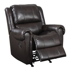 None - Brody Brown Italian Leather Rocker Recliner Chair - Kick back and relax on this rocker recliner chair from Brody Brown. This sleek chair features attached seat cushions,padded leg support,and sinuous steel springs. Crafted from a hardwood frame,this piece will serve you for years to come.
