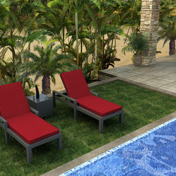 Forever Patio - Hampton 3 Piece Chaise Lounge Set, Chocolate Wicker and Ruby Cushions - Create a seaside feel in your backyard, no matter where you live. These comfortable chaise lounges with sleek Sunbrella® cushions come with a modern glass-topped end table to hold your snacks and reading material. The durable aluminum and wicker frame will last for many summers to come.