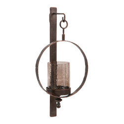 "Imax - Rustic Iron Circle Hurricane Wall Sconce - *Dimensions: 11""h x 5""w x 22"""