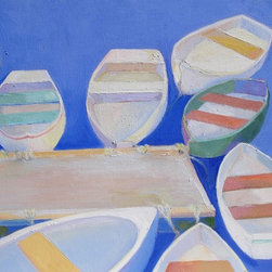 Summer Afternoon, Original, Painting - Summer Afternoon was painted referencing the dories tied up in Perkins Cove, Ogunquit, Maine. They are the lobstermen's dories.