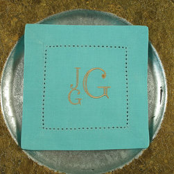 Special Order Napkins by Sincerely Yours, Lauren, Set of 6 - Adding your monogram to pretty and classic cocktail napkins is always a good idea. I love the modern take on the letters and the pretty aqua color of these ones. Other color options are also available from this Etsy seller.