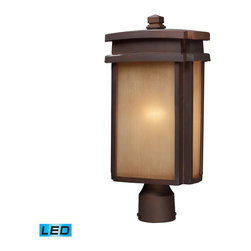 Elk Lighting - Elk Lighting Sedona Outdoor Post Light with Clay Bronze X-DEL-1/54124 - Simplicity Of Craft And Form Gives The Sedona Collection A Very Attractive Look Through Its Minimalist Approach.  Inspired By The Architecture And Casual Lifestyle Of The Desert Southwest, This Collection Features Clean Lines With Recessed Edges, Caramel Beige Glass, And A Clay Bronze Finish. - LED Offering Up To 800 Lumens (60 Watt Equivalent) With Full Range Dimming. Includes An Easily Replaceable LED Bulb (120V).