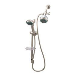 """Kingston Brass - 5 Setting Hand Shower with Hose - High Quality Brass Construction, 4 Pieces Shower Combo, Matching Accessories Available, Brass Supply elbow, Pin wall Bracket,59"""" Hose, Brass swivel connector, and 5 Function Hand Shower(KSH2521).; High quality brass construction; 7-piece shower combo; Matching accessories available; 6"""" shower arm and flange, shower diverter, 59"""" hose, 24"""" slide bar with soap dish, 5-function hand shower (KSH2528) and 5-function fixed shower head (KX1658); Premium finish; Material: Brass; Finish: Satin Nickel; Collection: Made-to-Match"""