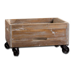 Uttermost - Stratford Reclaimed Wood Rolling Box - Weathered, Reclaimed Fir Wood Sanded And Sealed With A Light Gray Wash.