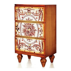 "26"" Mosaic Chest of Drawers - This stunning chest of drawers features an all over mosaic pattern. The drawers are protected with a detailed applique. The feet are tapered and crafted from solid wood. Great for extra storage in any room. The finish will brighten and enlarge you living space."