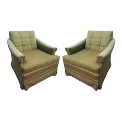 Green Kroehler Mid Century Club Chairs - A Pair - $1,200 Est. Retail - $600 on C -