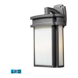 Elk Lighting - Sedona LED 2-Light Outdoor Sconce in Graphite - Simplicity of craft and form gives the Sedona Collection a very attractive look through its minimalist approach. Inspired by the architecture and casual lifestyle of the desert southwest, this collection features clean lines with recessed edges, caramel - LED, 800 lumens (1600 lumens total) with full scale dimming range, 60 watt (120 watt total)equivalent, 120V replaceable LED bulb included.