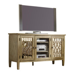 Hooker Furniture - Entertainment Console, Surf, Visage - Trying to tame your beast of a TV? Try this beauty of a media console. It's made of wood in a warm, antiqued finish to fit with the rest of your traditional decor. And it features doors with an intricate design over antiqued mirror for extra style.