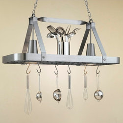 Hi-Lite MFG - Sterling 2-Lite Pot Rack in Satin Steel Finish - Includes six pot rack hooks, 3 ft. chain and 7 ft. wire. . Accessories and bulbs not included. UL listed. Two 100W MED BASE INC for lamps. Voltage: 120 V. Made from steel. 36 in. L x 15 in. W x 15 in. H (25 lbs)Hi-Lite achieved success through attention to detail and stubbornness to only manufacturer the highest quality product. Hi-Lite has built its reputation as a premier lighting manufacturer by using only the finest raw materials, inspirational designs, and unparalleled service. This allows us great flexibility with our designs as well as offering you the unique ability to have your custom designs brought to Light.
