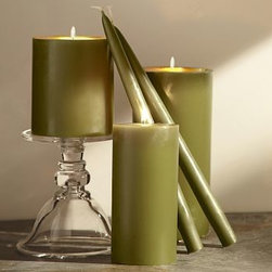 """Rustic Luxe(TM) Pillar Candle, 4 x 4.5"""", Green - Our popular pillar and taper candles now come in a wide array of vivid autumn colors. Use them with our candleholders and lanterns to bring ambiance and light to seasonal displays. Pillar candle made of unscented refined paraffin wax with lead-free wick. Taper candle crafted of hand-dipped paraffin wax with lead-free wick. Taper candles come as set of 2."""