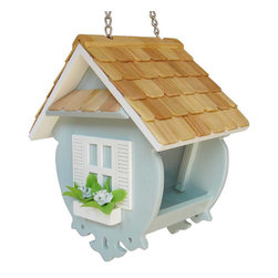 "Home Bazaar - Little Wren Feeder - Light Blue - This fully functional hanging feeder is perfect for any backyard. The Little Wren Feeder features a pine roof, shuttered windows, flower box and scrollwork bottom. The slide-up roof makes it a snap to pour in the seed of your choice. Drainage holes will help keep the inside dry. Item Dimensions: 7"" H x 6"" W x 8"" D."