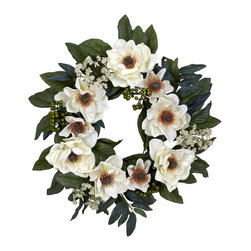 "Nearly Natural - 22"" Magnolia Wreath - Looking for a decoration that's soft, beautiful, and timeless? Then look no further than this beautiful magnolia wreath. Lovely greens (complete with ""berries and buds"") twist and turn, creating the ideal backdrop for the billowy white blooms that spring forth.  This makes for a perfect wall accent year round', and also makes an ideal gift for that hard to buy for person."