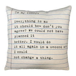 """Kathy Kuo Home - """"To My Lovey"""" Vintage Typewriter Script Linen Down Throw Pillow - This sweet pillow is just your type. It's big and bold at 24 inches square, and is hand-printed on 100 percent linen. What's more? The light blue and red lines create the look of vintage composition paper."""