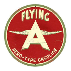Past Time Signs - Flying A Original Tin Sign 28 x 28 Inches - - Width: 28 Inches