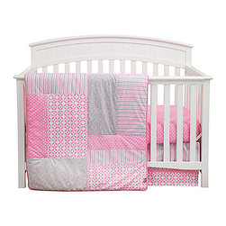 Trend Lab - Trend Lab's Lily 3-Piece Baby Bedding Set - Timeless polka dots and stripes are paired with fresh lattice and geometric circles bringing a wonderfully stylized statement to the nursery in Trend Labs Lily 3-Piece Baby Crib Bedding Set. Poppy pink is combined with shades of a beautiful opal gray and crisp white offering endless decorating possibilities for you and your little one. The 3 piece set includes fitted sheet crib skirt and blanket/quilt. Coordinating accessories sold separately. Please allow 2-3 weeks for delivery. 100 cotton. Machine wash/tumble dry
