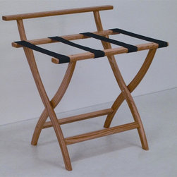 "Wooden Mallet - Luggage Rack w Standard Black Webbing in Ligh - Our unique ""Wall Saver"" feature prevents costly wall damage. Has multiple uses when it doubles as a breakfast tray holder or blanket stand. Folds flat and is easily stored in a closet or against a wall when not in use. Four 2 in. woven straps support heavy suitcases. Graceful, curved legs add a designer flair. Rated to hold suitcases up to 100 lbs.. Built using solid oak construction and state-of-the-art finish for heavy use and lasting beauty.  Made in the USA. No assembly required. All Wooden Mallet products are warranted for 1 year against defects in materials and workmanship. Overall: 29.5 in. L x 23.75 in. W x 18 in. H (7 lbs.). Open: 29.5 in. L x 23.75 in. W x 18 in. H. Closed: 29.5 in. L x 23.75 in. W x 4.5 in. HGive your guest room the feeling of a four star hotel with this beautiful luggage rack. Built using solid oak and sturdy webbing, even the heaviest suitcases are easily supported by the four 2 in. wide woven straps. Our unique ""Wall Saver"" feature prevents costly wall damage. This luggage rack has multiple uses when it doubles as a breakfast tray holder or blanket stand. These luggage racks fold and unfold easily. Take it out for guests, and then fold it up for easy storage. It is also a great in the master bedroom for packing suitcases for business trips or vacations."